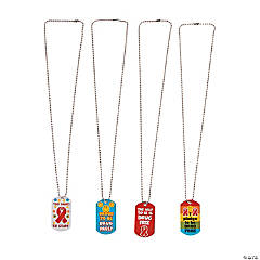 Red Ribbon Dog Tag Necklaces