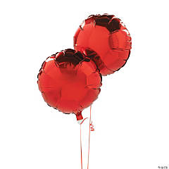 Red Round Mylar Balloon Set