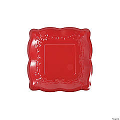Red Scalloped Edge Paper Dessert Plates