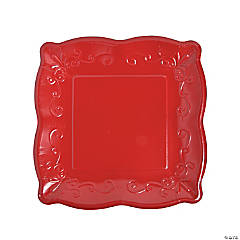 Red Scalloped Edge Paper Dinner Plates