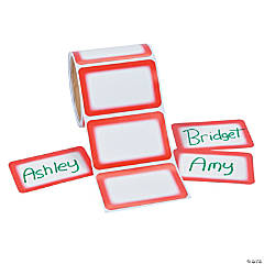 Red Self-Adhesive Name Tags/Labels