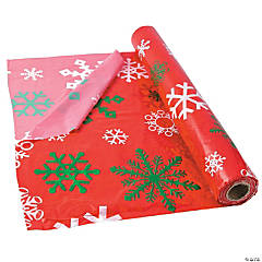Red Snowflake Plastic Tablecloth Roll