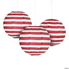 Red Striped Hanging Paper Lanterns