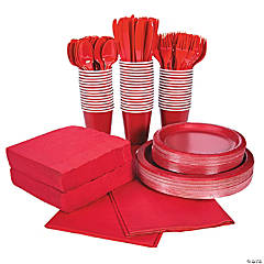 Red Tableware Party Pack for 48