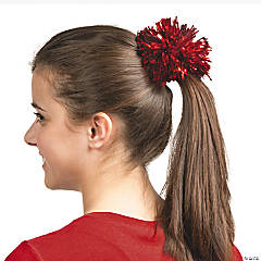 Red Team Spirit Metallic Hair Pom-Pom