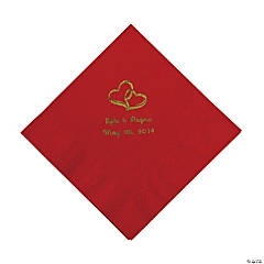 Red Two Hearts Personalized Napkins with Gold Foil - Luncheon