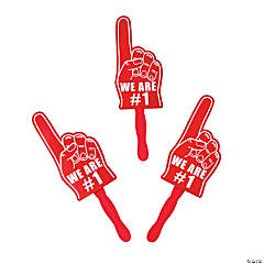 Red We're #1 Finger Hand Fans