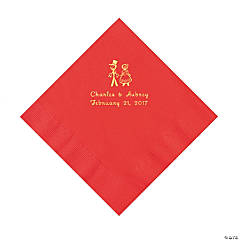 Red Wedding Couple Personalized Napkins with Gold Foil - Luncheon
