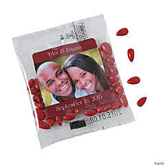 Red Wedding Custom Photo Candy-Coated Sunflower Seed Packs