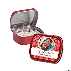 Red Wedding Design Custom Photo Mint Tins