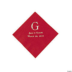Red Wedding Monogram Personalized Napkins with Silver Foil - Beverage