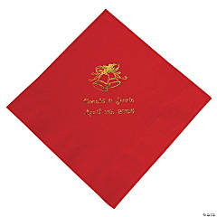 Red Wedding Personalized Luncheon Napkins with Gold Print