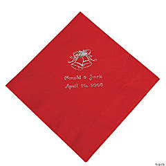 Red Wedding Personalized Luncheon Napkins with Silver Print