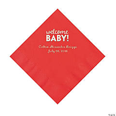 Red Welcome Baby Personalized Napkins with Silver Foil – Luncheon