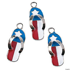 Red, White & Blue Flip Flop Charms
