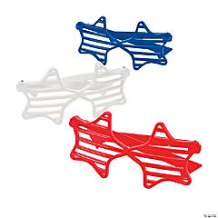 Red, White & Blue Star-Shaped Shutter Sunglasses