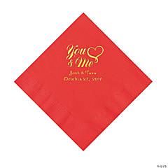 Red You & Me Heart Personalized Napkins with Gold Foil – Luncheon