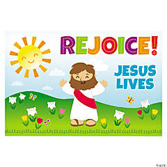 Rejoice Jesus Lives Plastic Backdrop