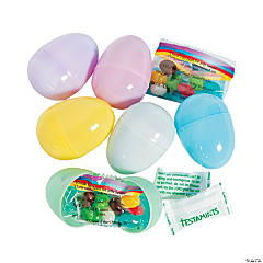 Religious Candy-Filled Pastel Plastic Easter Eggs - 24 Pc.