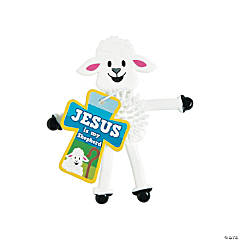 Religious Lamb Porcupine Bendables with Card