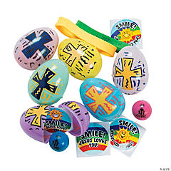 Religious Printed Toy-Filled Pastel Plastic Easter Eggs - 24 Pc.