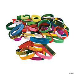 Religious Sayings Rubber Bracelet Mega Assortment