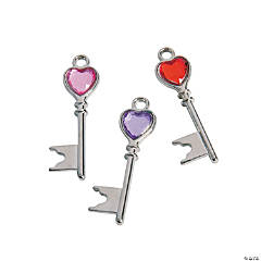 Rhinestone Heart Key Charms