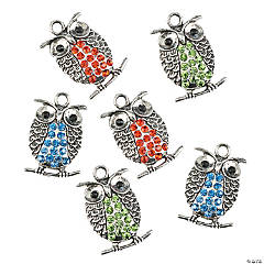 Rhinestone Owl Charms