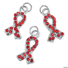 Rhinestone Red Awareness Ribbon Charms