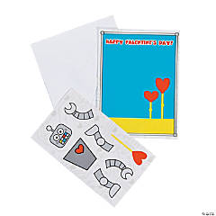 Robot Mini Sticker Scene Valentine Cards