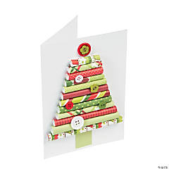 Rolled Paper Christmas Tree Card Idea