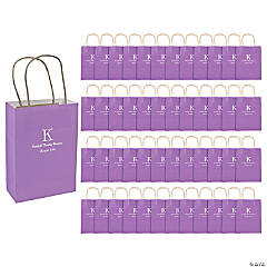Roman Monogram Purple Kraft Paper Bags