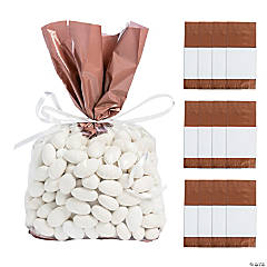 Rose Gold Banded Cellophane Bags