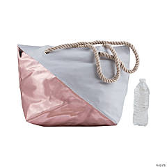 Rose Gold Diagonal Print Tote Bag with Rope Handles