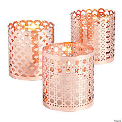 Rose Gold Ornate Candle Holder Set