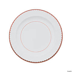 Rose Gold Rimmed Paper Dinner Plates