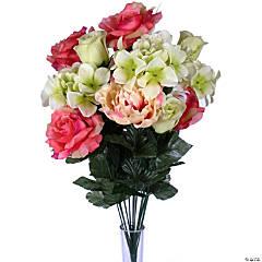 "Rose Peony Bush X18 22""-Coral/Green"