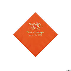 Rose Personalized Orange Beverage Napkins