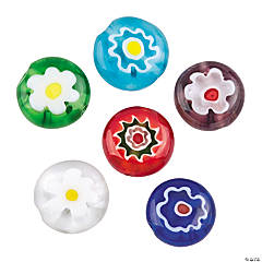Round Flower Millefiori Beads - 10mm