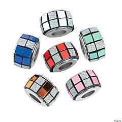 Round Mirrored Glitter Beads- 13mm