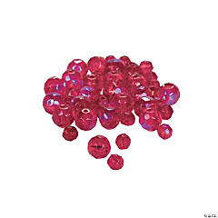Ruby Aurora Borealis Cut Crystal Round Beads - 4mm-6mm