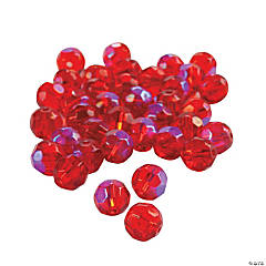 Ruby Aurora Borealis Cut Crystal Round Beads - 8mm