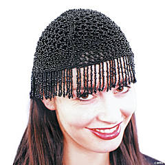 20s Beaded Cap Black