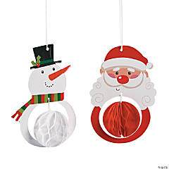 Santa & Snowman Tissue Ornaments