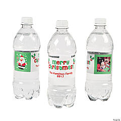 Santa Claus Custom Photo Water Bottle Labels