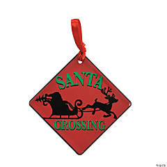 Santa Crossing Ornament