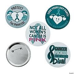 Sassy Women's Teal Awareness Ribbon Buttons