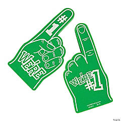 School Spirit Green Foam Hands