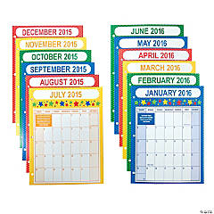 2015-2016 School Year Binder Calendars