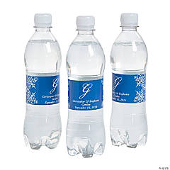 Script Monogram Blue Water Bottle Labels